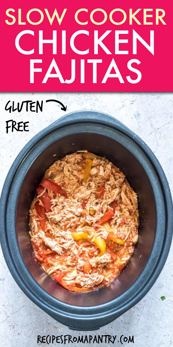 shredded chicken and peppers in a crock pot