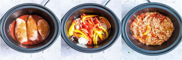image collage showing the steps for making slow cooker chicken fajitas