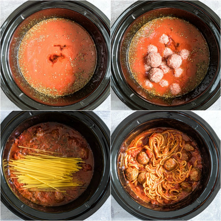 image collage showing the steps for making slow cooker spaghetti and meatballs