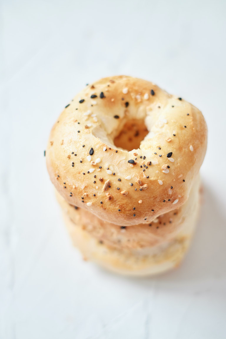 three bagels stacked vertically