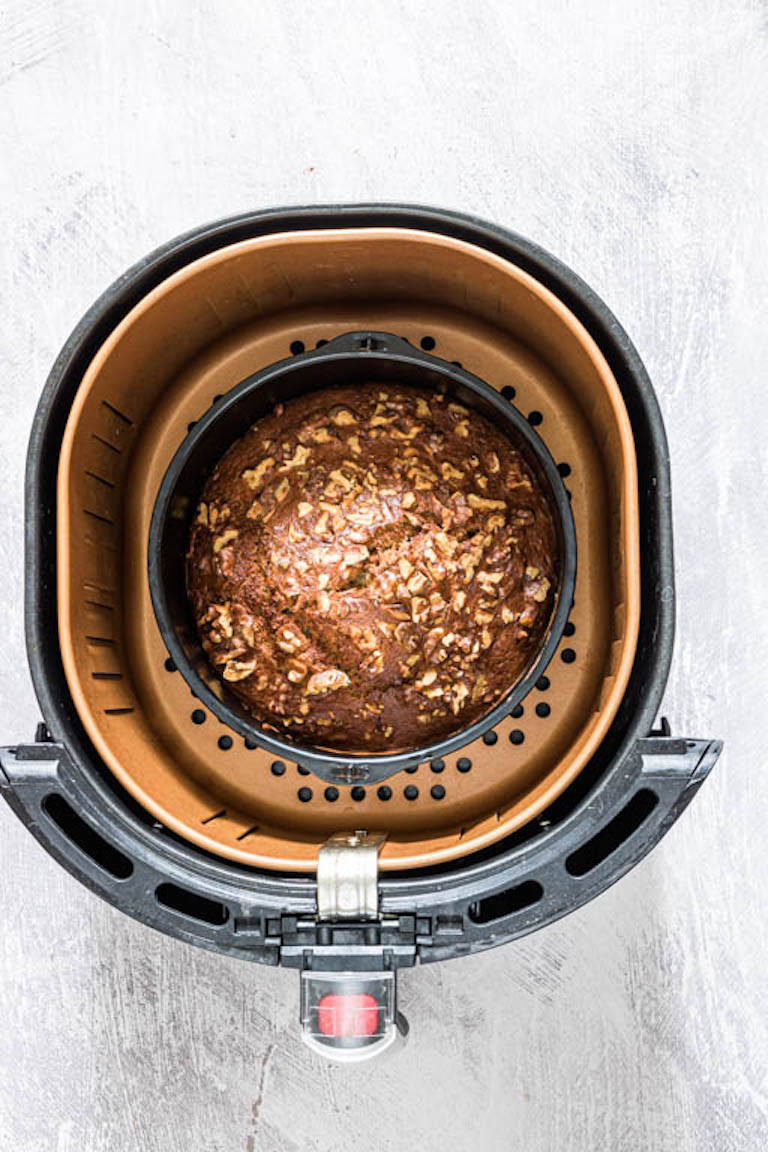 Banana bread - quick bread in a cake tin in the air fryer basket