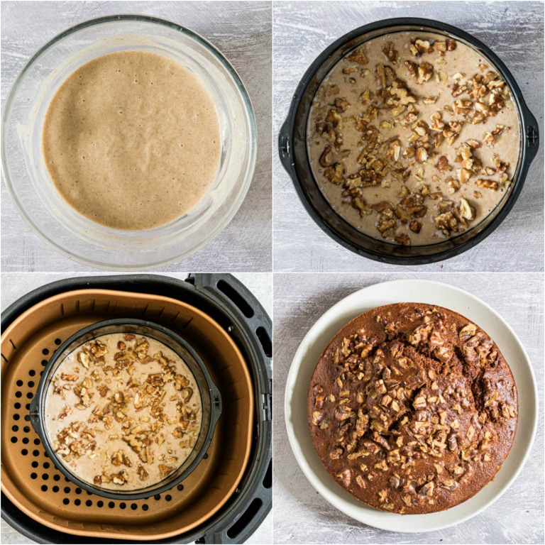 image collage showing the steps or making banana bread in the air fryer