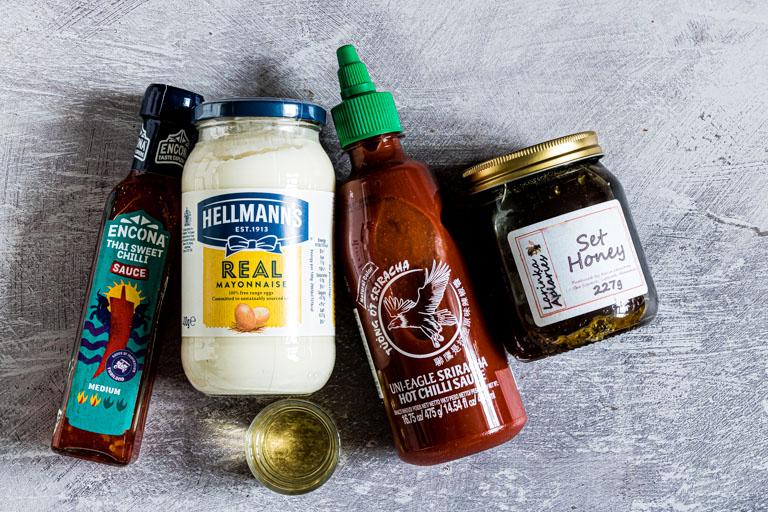 ingredients to make bang bang sauce on a table