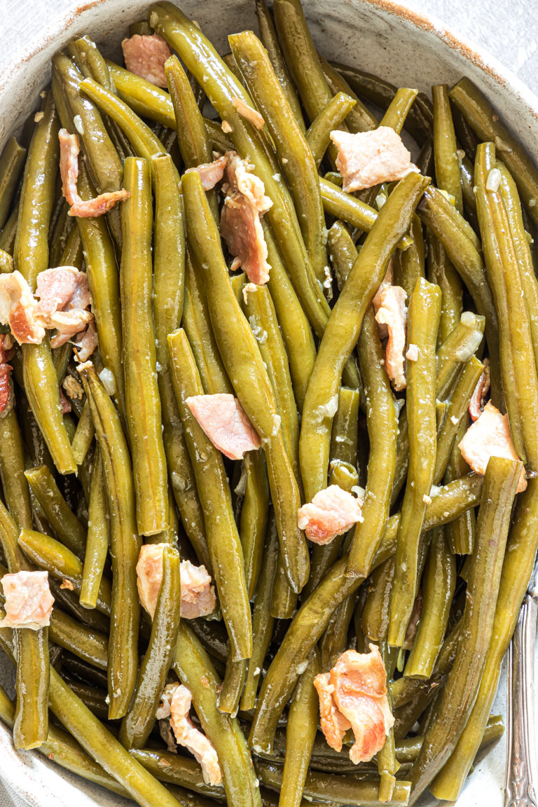 close up view of the finished crock pot green beans
