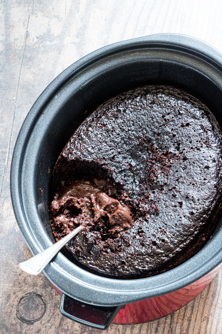 top down view of the cooked crockpot chocolate lava cake
