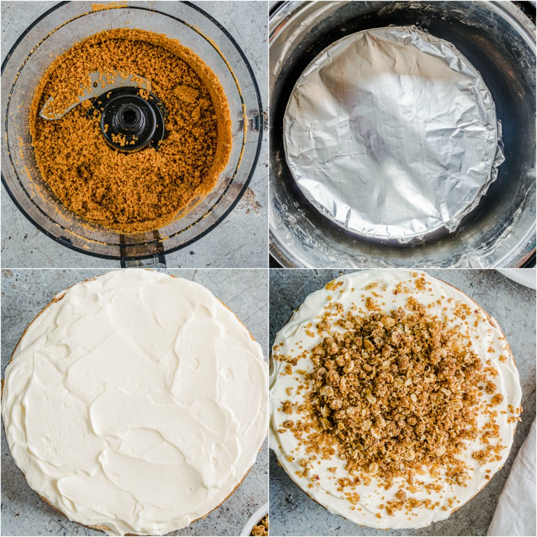 image collage showing the steps for making instant pot eggnog cheesecake