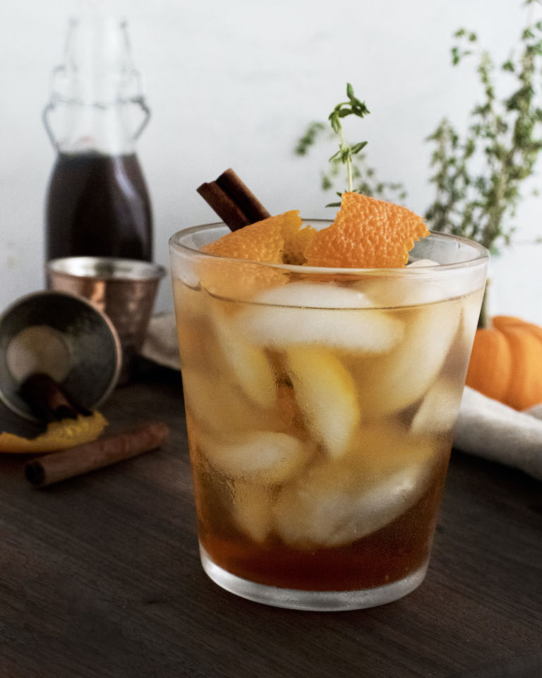 the completed fall spiced old fashionedcocktail