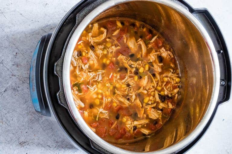A pot of pressure cooker chicken tortilla sup