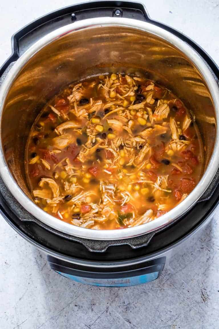 A pot of pressure cooker chicken tortilla soup