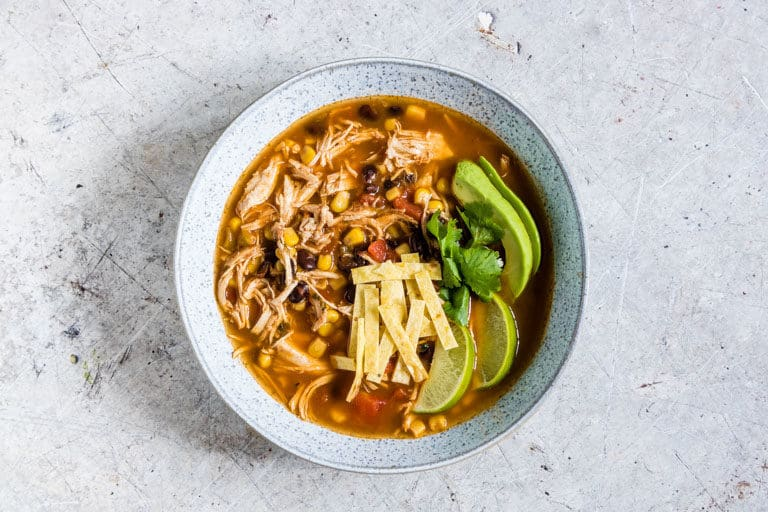 easy chicken tortilla soup on a table
