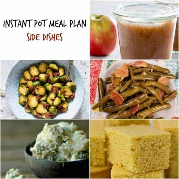instant pot meal plan side dishes collage including instant pot cornbread and green beans