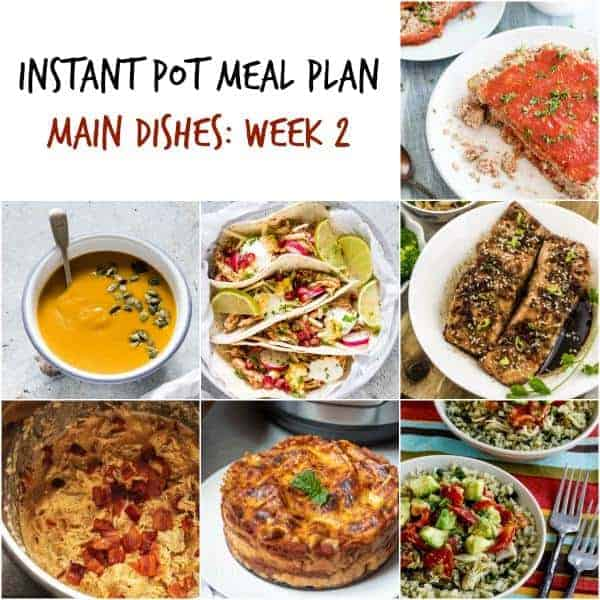 instant pot meal plan collage with 7 meals including instant pot lasagna and soup