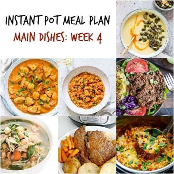 instant pot meal plan meal collage with soups, stews, and meat