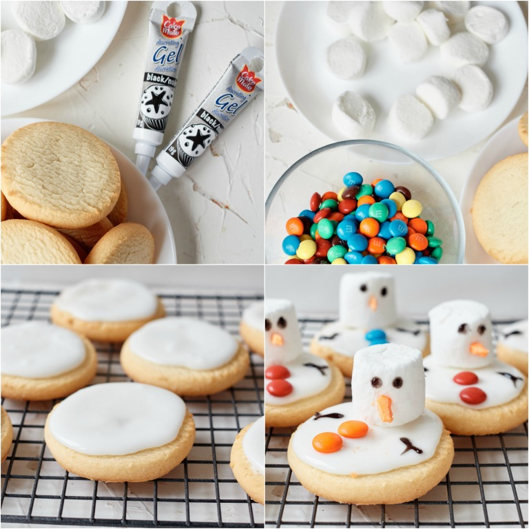 image collage showing the steps for making melted snowman cookies