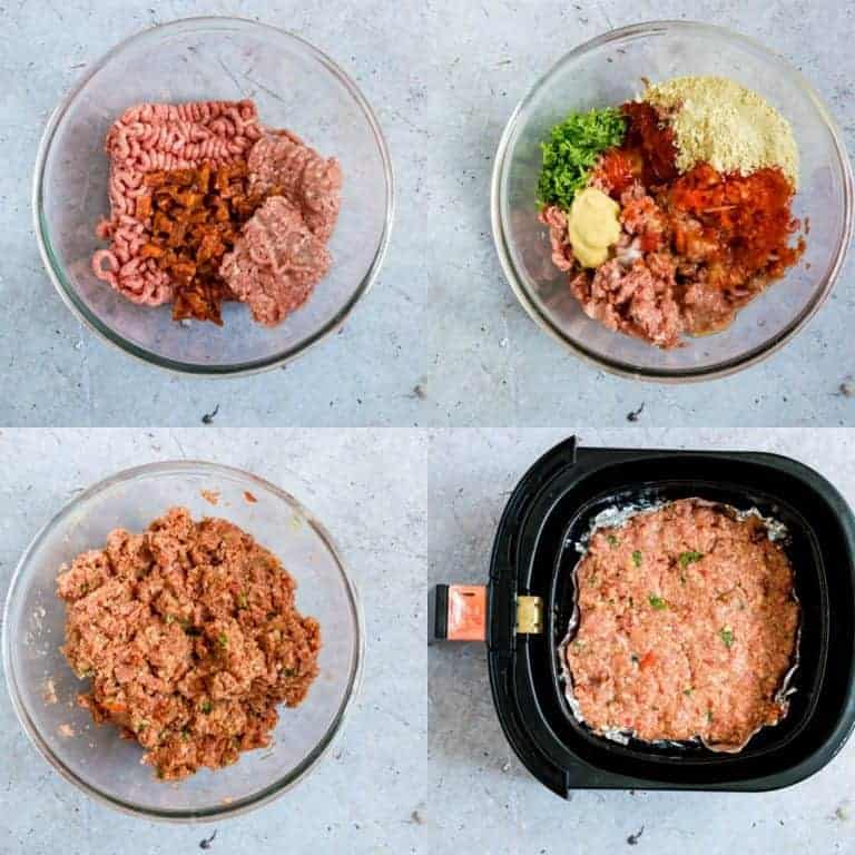 collage of making air fryer meatloaf