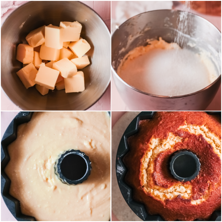 image collage showing the steps for making a cream cheese bundt cake