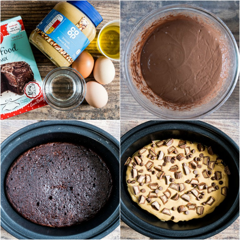 image collage showing the steps for making crock pot peanut butter chocolate cake