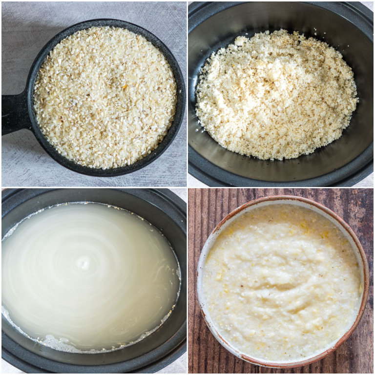 image collage showing the steps for making grits in the slow cooker