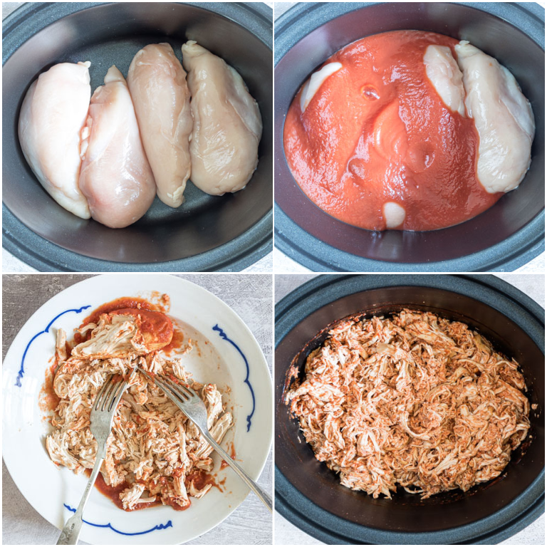 image collage showing the steps for making slow cooker salsa chicken