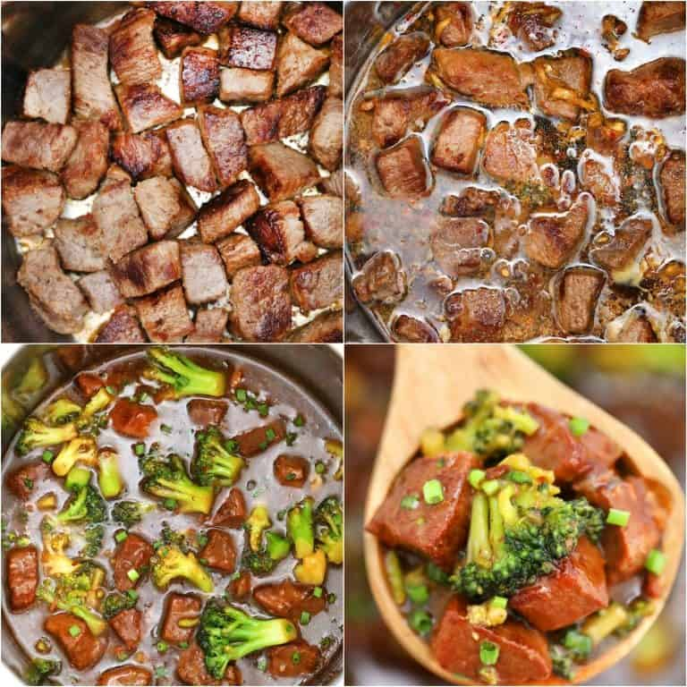 image collage showing the steps for making instant pot beef and broccoli