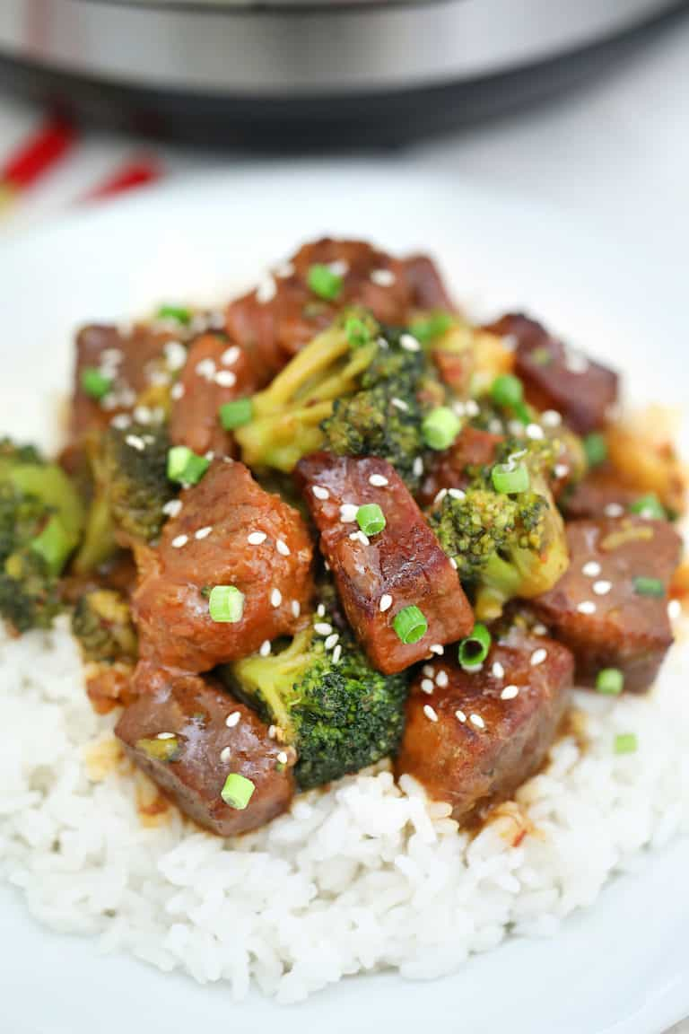 close up view of Instant Pot Beef and Broccoli served over rice