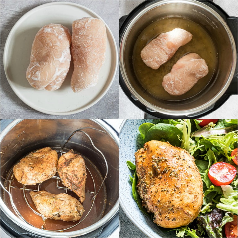 image collage showing the steps for making Instant Pot Frozen Chicken Breast