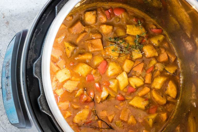 The finished Instant Pot Pumpkin and Plantain Curry recipe inside the Instant Pot
