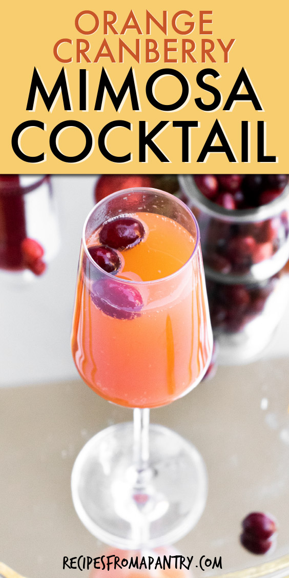 a champagne glass of mimosa with cranberries floating inside