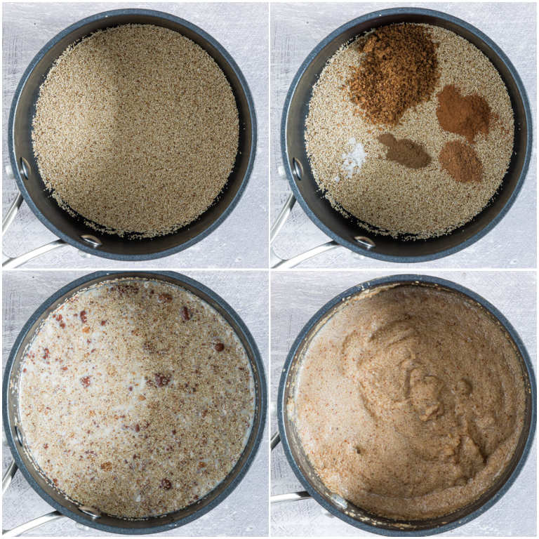 image collage showing the steps for making teff porridge