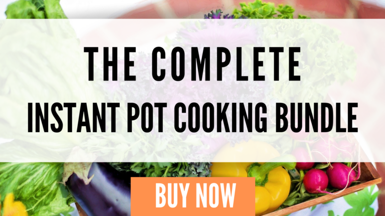 an image of vegetables and text saying instant pot cooking bundle