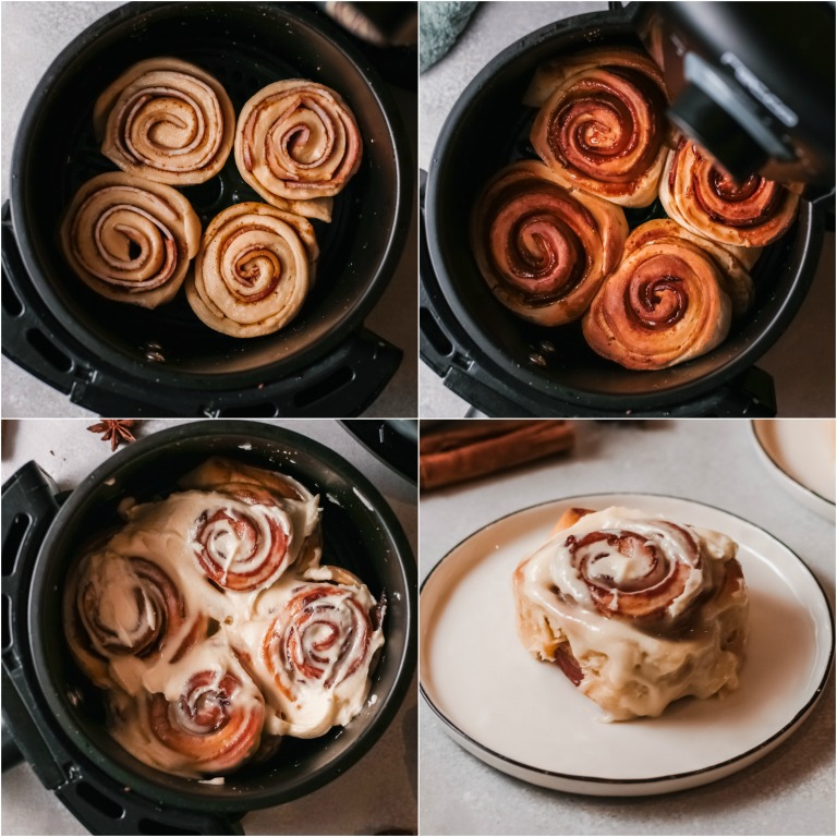 image collage showing the final steps for making bacon cinnamon rolls in air fryer