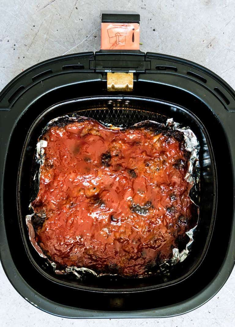 cooked air fryer meatloaf in the air fryer