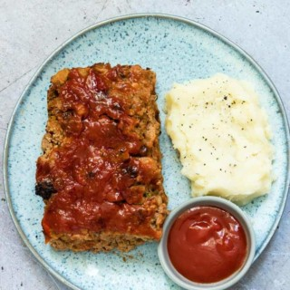 air fryer meatloaf with mashed potato and glaze