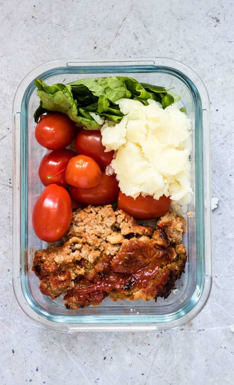 classic meatloaf recipe sliced up into a meal prep bowl