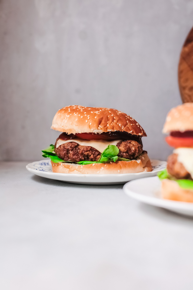 the completed healthy air fryer turkey burger recipe