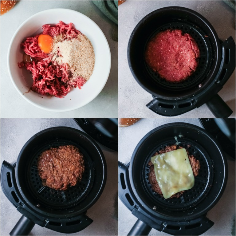 image collage showing the steps for making turkey burgers air fryer
