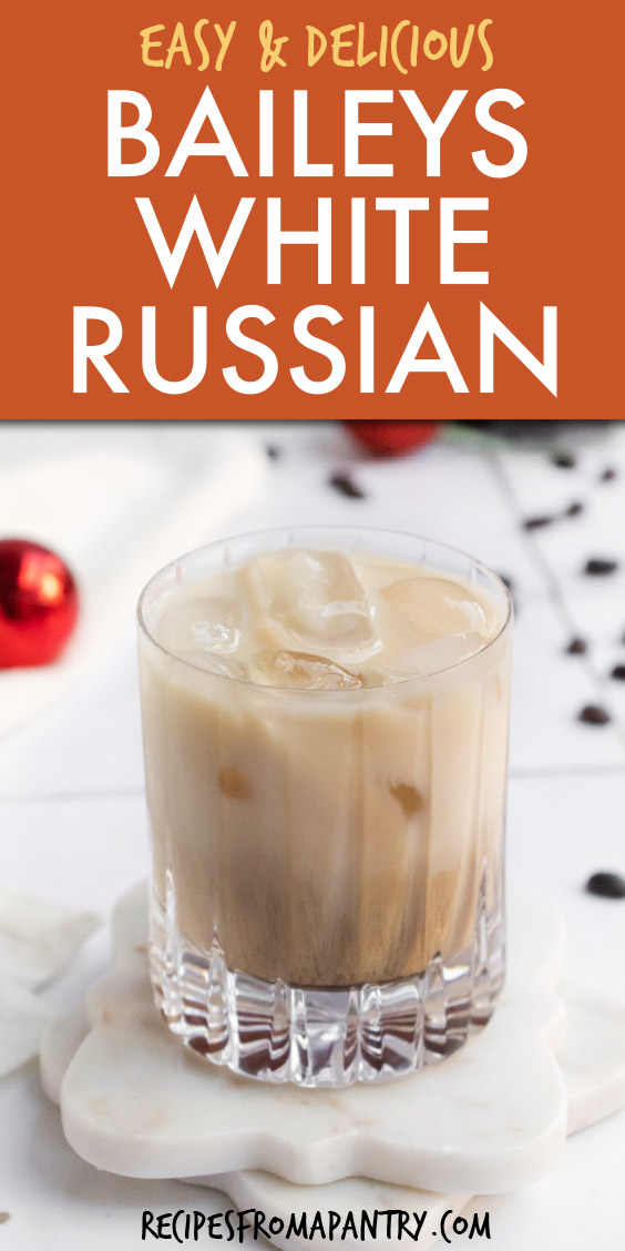 A glass of white russian cocktail on a coaster
