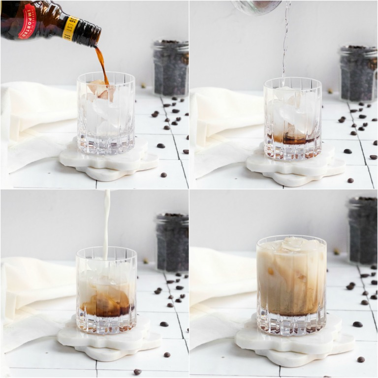 image collage showing the steps for making a Baileys White Russian cocktail