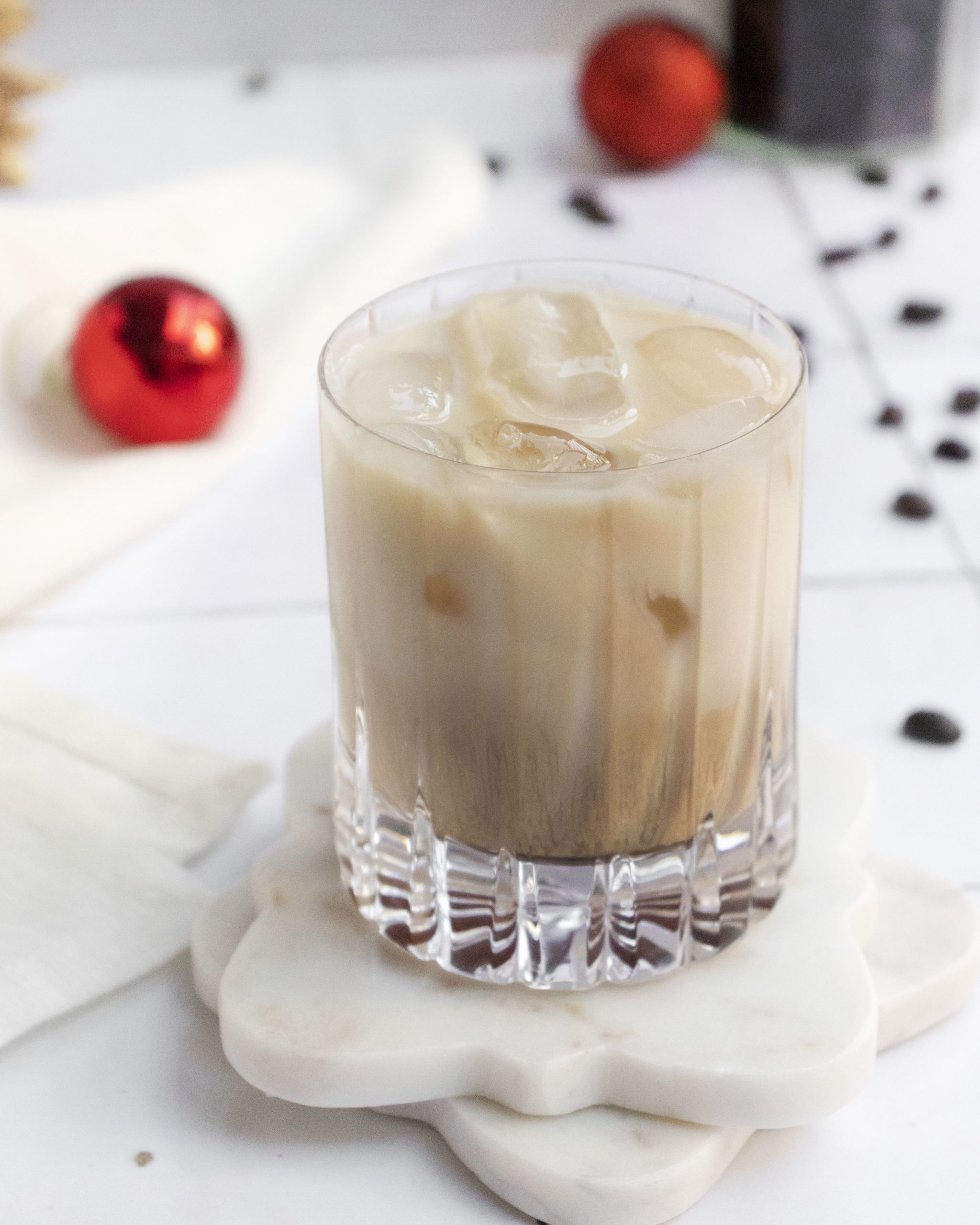 the finished baileys white russian cocktail