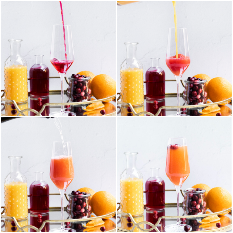 image collage showing the steps for making a cranberry orange mimosa