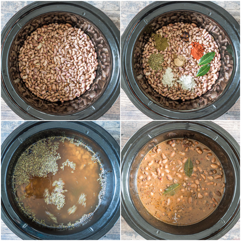 image collage showing the process of making pinto beans in a crock pot