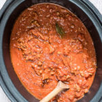 top down view of crockpot spaghetti sauce inside the slow cooker