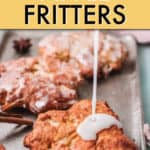 ICING DRIZZLING OVER AN APPLE FRITTER