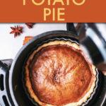 top down view of a sweet potato pie inside an air fryer