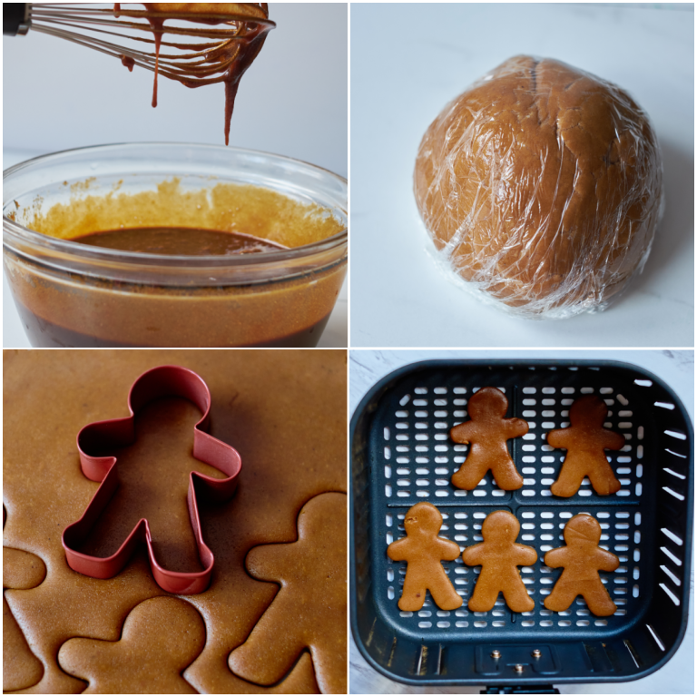 image collage showing the steps for making air fryer gingerbread cookies