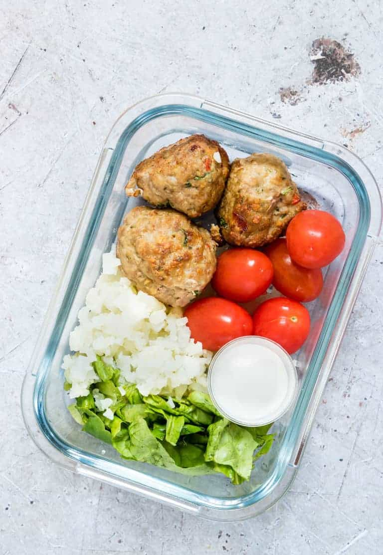 Meal prep bowl with turkey meatballs and veggies