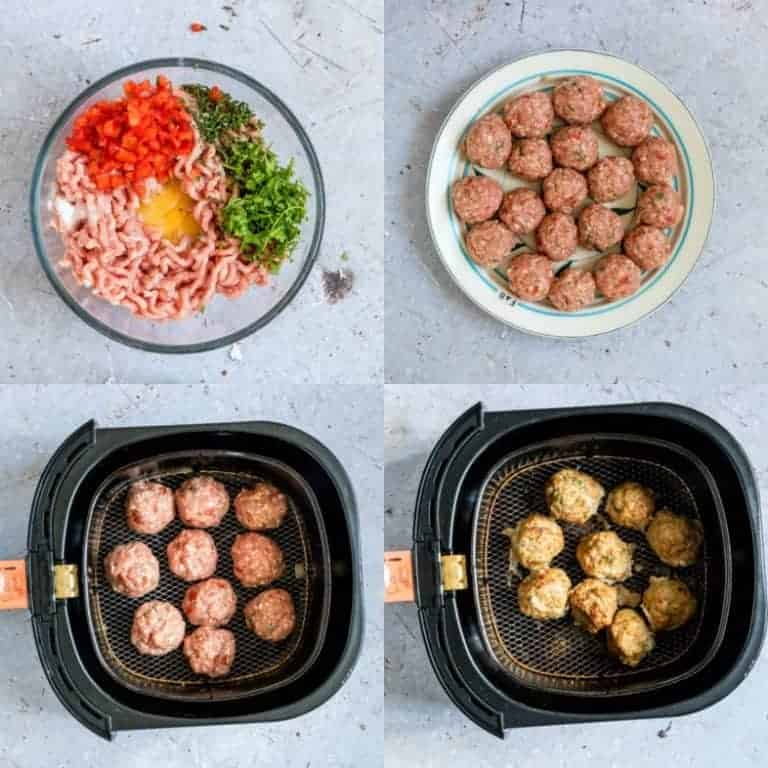 Collage of making air fryer meatballs (turkey Meatballs)