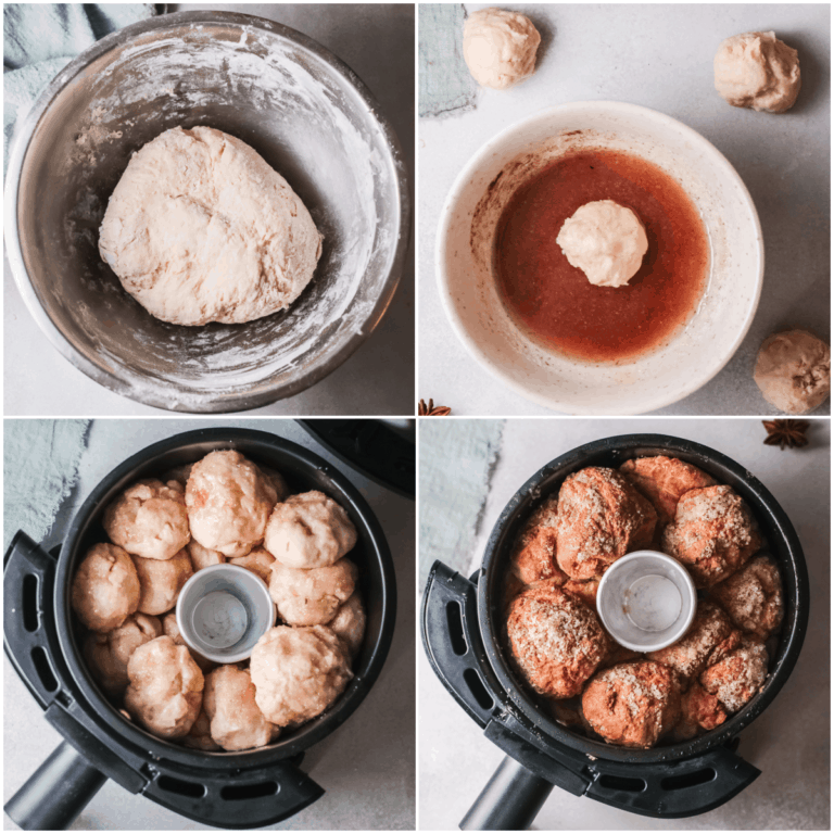 image collage showing the steps for making air fryer monkey bread