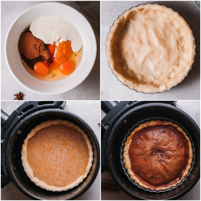 image collage showing the steps for making sweet potato pie