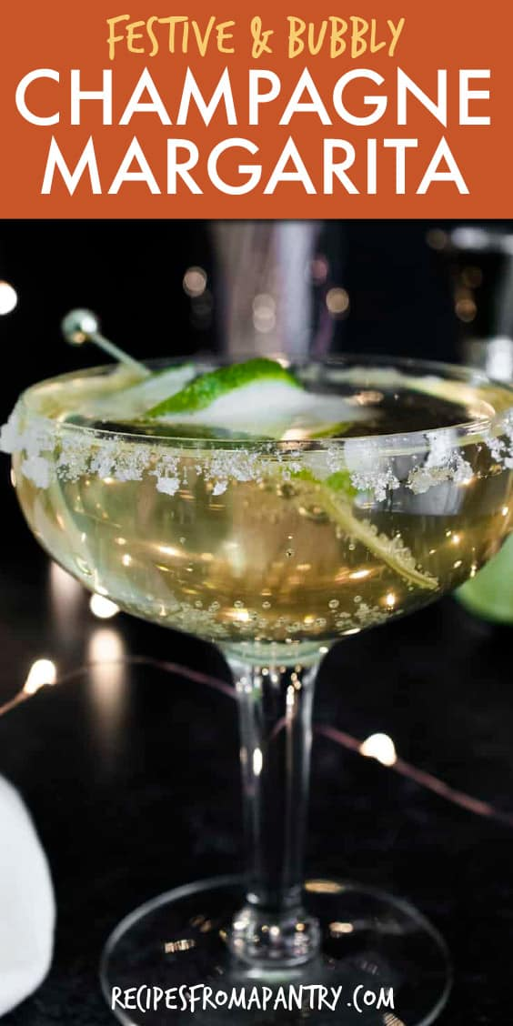 CHAMPAGNE MARGARITA IN A STEMMED GLASS WITH LIME